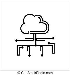 réseau, concept, nuage, calculer