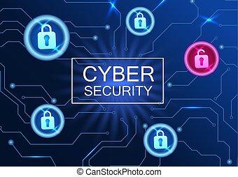 réseau, concept, poster., cyber, virus, anti, sécurité