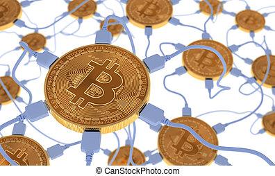 réseau, connecté, bitcoins, neural