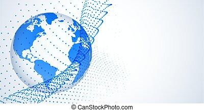 réseau, connexion, stylique numérique, global, concept, fond