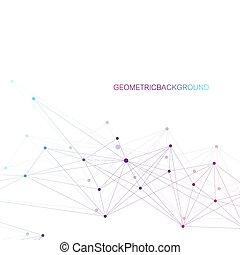 réseau, dots., technologique, résumé, global, arrière-plan., connexion, vecteur, connecté, signification, ligne, géométrique, illustration.
