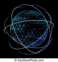 réseau, espace, global, orbite, conception, numérique
