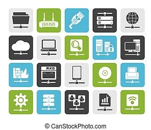 réseau, et, icônes internet