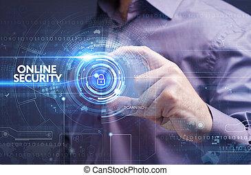 réseau, fonctionnement, concept., internet, jeune, virtuel, business, ligne, homme affaires, sécurité, screen:, technologie