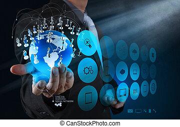 réseau, fonctionnement, exposition, moderne, homme affaires, main, informatique, nouveau, la terre, structure, social