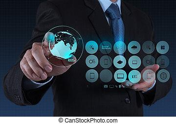 réseau, fonctionnement, exposition, moderne, informatique, homme affaires, nouveau, structure, social