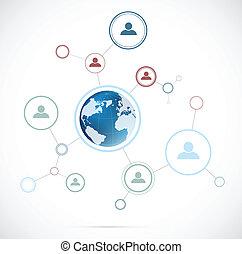 réseau, fond, à, globe