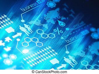 réseau, fond, business