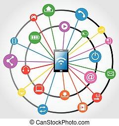 réseau, fond, social
