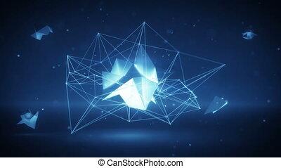 réseau, forme., polygonal, incandescent, boucle, futuriste, 3d