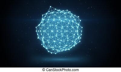réseau, futuriste, incandescent, forme