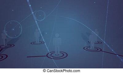 réseau, gens, connexions, icônes