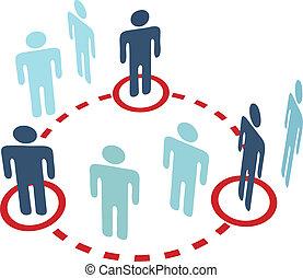 réseau, gens, initié, connexion, clã©, social, cercle