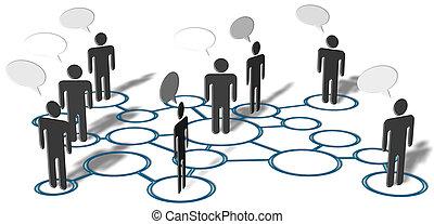 réseau, gens, média, connexions, social, parler