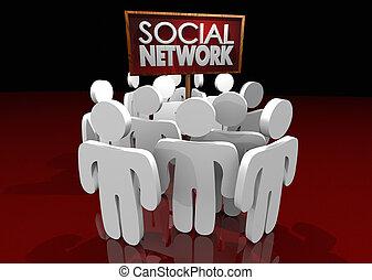 réseau, gens, média, illustration, connexions, groupes, social, 3d