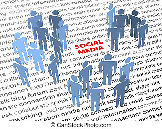 réseau, gens, média, texte, mots, social, page