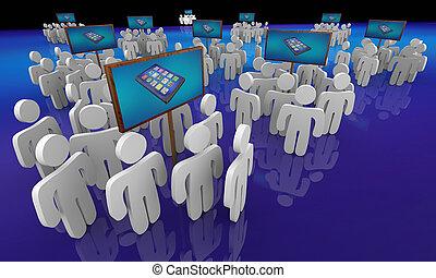 réseau, gens, réunions, illustration, téléphone portable, groupes, appareil, nouveau, intelligent, 3d