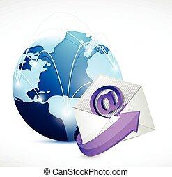 réseau, global, communication., nous, contact, email