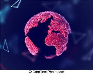 réseau global, concept:, numérique, terre planète, à, connexion, lines.
