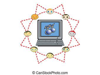 réseau, global, illustration, vecteur, musique, amis
