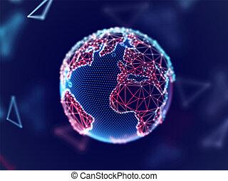 réseau, global, planète, connexion, lines., numérique, la terre, concept: