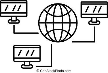 réseau, global, style, icône, toile, contour
