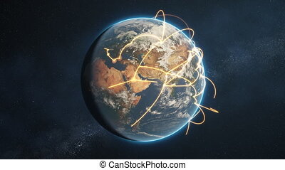 réseau, global, -, version, orange, jour terre, boucle