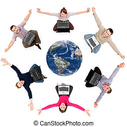 réseau, globe, autour de, membres, social, heureux