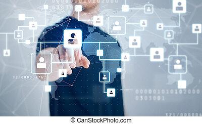 réseau, hologramme, homme, contacts, social