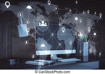 réseau, hologramme, travail, média, éloigné, social