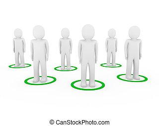 réseau, hommes, collaboration, 3d