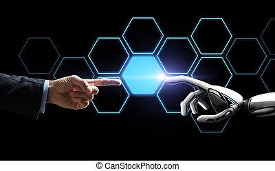 réseau, humain, robot, hologramme, main, toucher