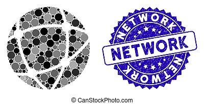 réseau, icône, timbre, mosaïque, détresse