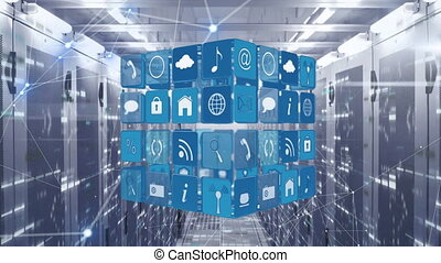 réseau, icônes, animation, numérique