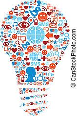 réseau, icônes, média, symbole, lampe, social
