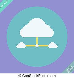 réseau, -, illustration, connexion, vecteur, nuage