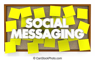 réseau, illustration, planche, social, messagerie, bulletin, 3d
