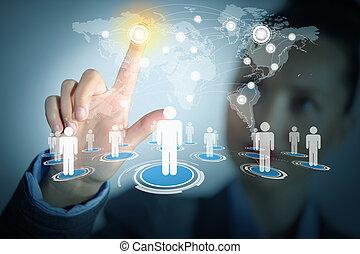 réseau, image, toucher, femme, social, icône