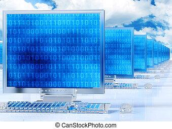 réseau, informatique, élégant