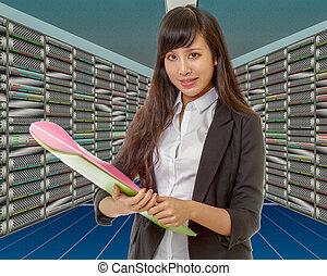 réseau, ingénieur, asiatique, salle, serveur