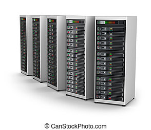 réseau, isolé, serveurs, blanc, rang, centre calculs