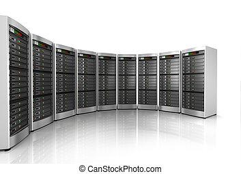 réseau, isolé, serveurs, fond, blanc, rang, centre calculs