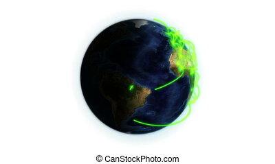 réseau, la terre, vert