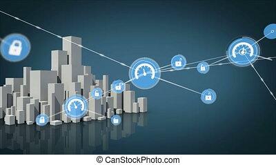 réseau, ligne, animation, sécurité, icônes, connexions