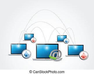 réseau, média, illustration, signe, connexion, ligne
