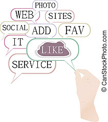 réseau, média, nuage, social, concept:, aimer