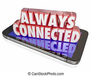réseau, mobile, always, téléphone portable, connexion, connecté, nouveau, intelligent