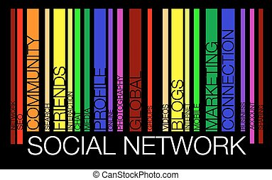 réseau, mot, concept, dans, barcode