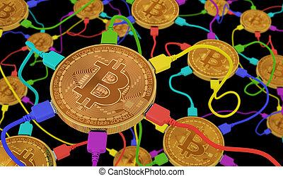 réseau, neural, arrière-plan noir, connecté, bitcoins