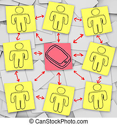 réseau, notes, -, collant, connexions, téléphone, intelligent